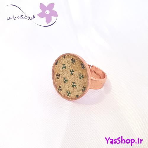 انگشتر مسی سنتی خاتم کاری شده کرمی رنگ