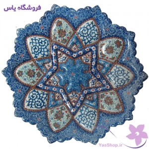 بشقاب مینای قطر ۱۶ زمینه فیروزه-ای آبی-طرح ۲-فروشگاه یاس yasshop.ir