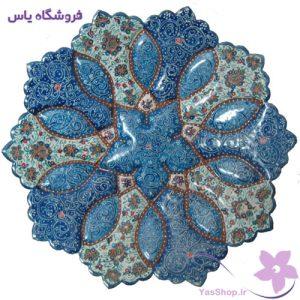 بشقاب مینای قطر ۱۶ زمینه فیروزه-ای آبی-طرح 1-فروشگاه یاس yasshop.ir