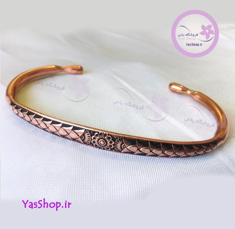 دستبند مسی-تک-گل - دستبند مردانه - دستبند زنانه - ضد استرس - فروشگاه اینترنتی یاس