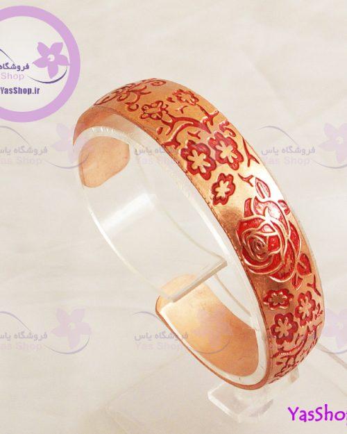 دستبند دخترانه مسی نقش گل رز -زیورآلات مسی- دستبند دخترانه - فروشگاه اینترنتی یاس