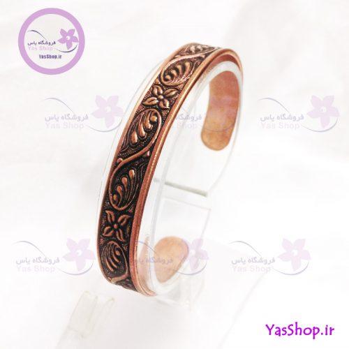 دستبند مسی قلم کاری مدل ۲ - دستبند دخترانه