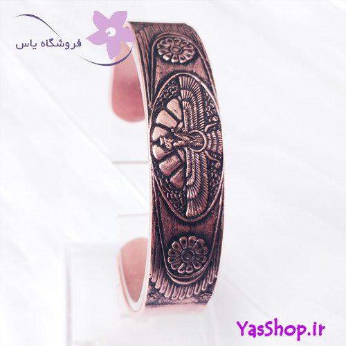 دستبند پسرانه مسی طرح فروهر و گل لوتوس مدل ۱