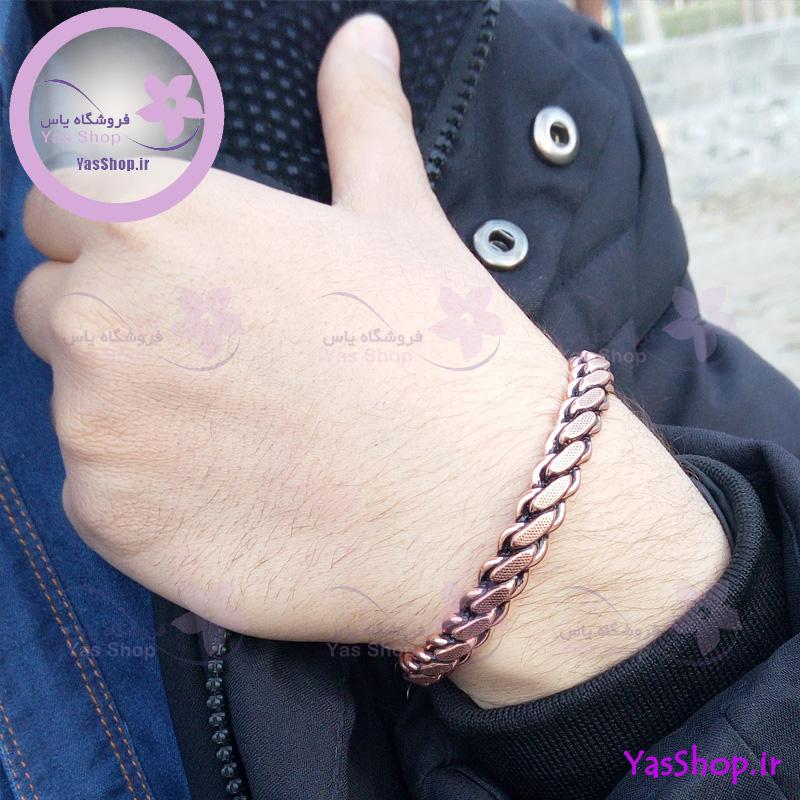 دستبند مردانه مسی با بافت متوسط
