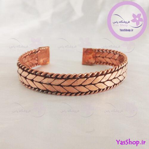 دستبند مسی بافت اسپرت مدل گندم - خرید دستبند مسی