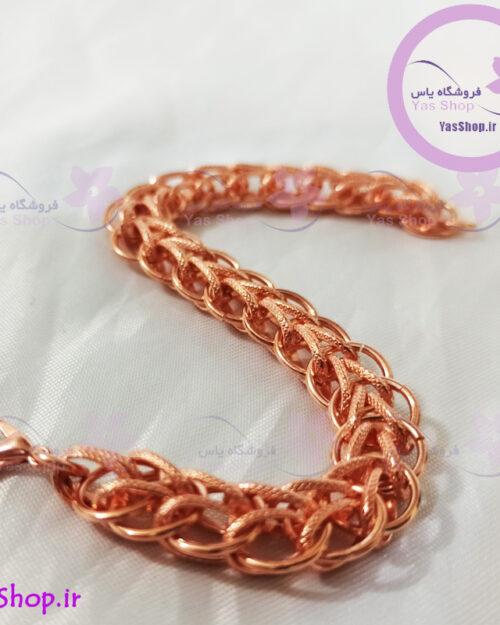 دستبند بافت زنجیری مسی مدل گندمی ۲