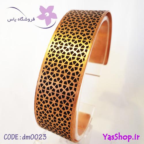 دستبند مسی نقش اسلیمی مدل ۲ شش ضلعی پهن