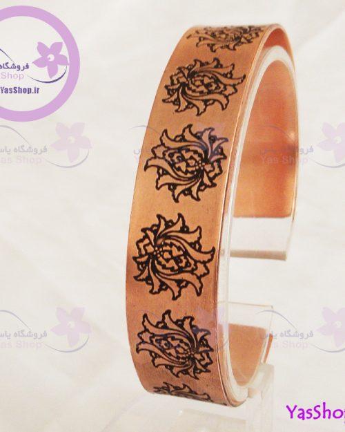دستبند مسی مدل اسلیمی طرح لاله عباسی یا شاه عباسی