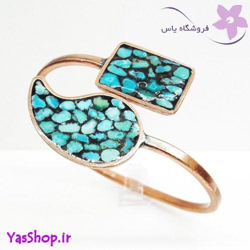 دستبند دخترانه مسی فیروزه کوب ترمه مدل ۶