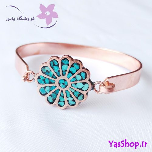 دستبند دخترانه مسی فیروزه کوب لوتوس مدل ۴