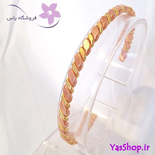 دستبند مسی بافت دو رنگ نازک مدل 3