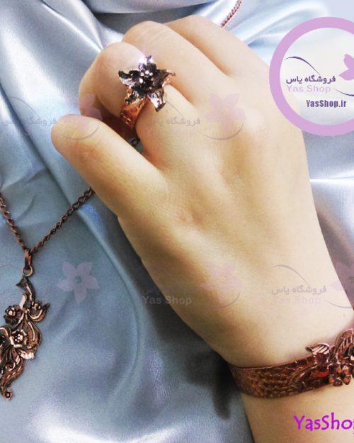 سرویس مسی مدل سوسن زیورآلات دخترانه مسی خرید دستبند مسی