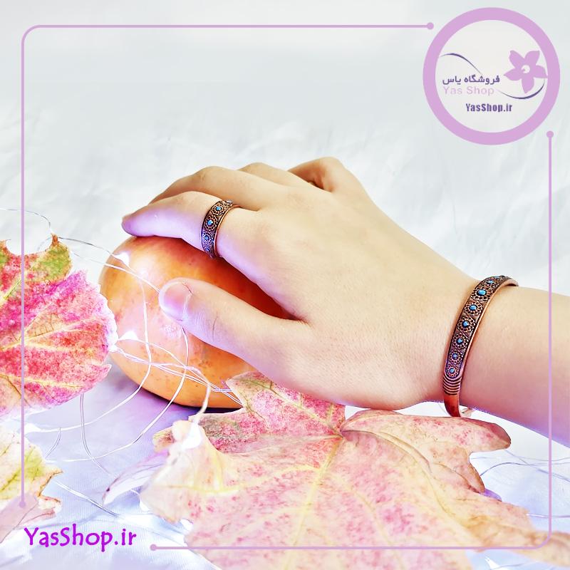 دستبند مسی و انگشتر مسی با نقش گل لوتوس میناکاری شده مناسب برای خانم ها و آقایان