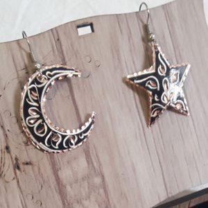 گوشواره مسی ماه و ستاره