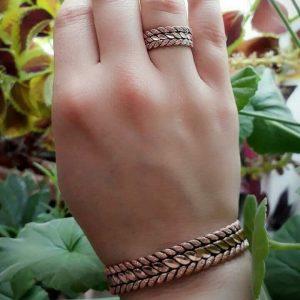 دستبند مسی و انگشتر مسی زنانه مدل خوشه
