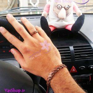 دستبند مسی و انگشتر مسی مدل بافت ضخیم